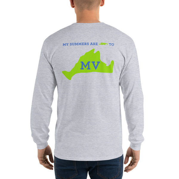 My Summers are Tied to Martha's Vineyard Blue and Green Long Sleeve T-Shirt - Multiple Colors - SummerTies