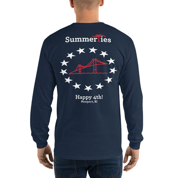 Newport 4th of July Long Sleeve T-Shirt - Navy - SummerTies