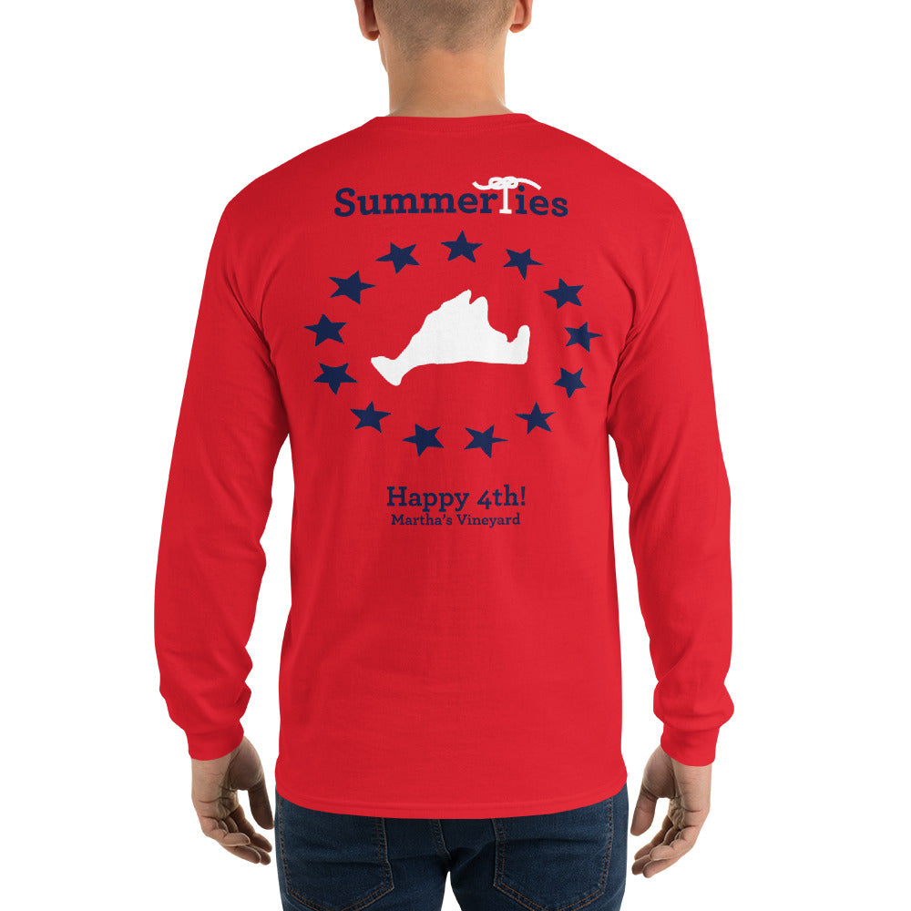 Martha's Vineyard 4th of July Long Sleeve T-Shirt - Red