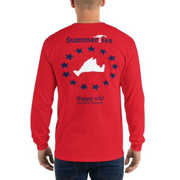 Martha's Vineyard 4th of July Long Sleeve T-Shirt - Red - SummerTies