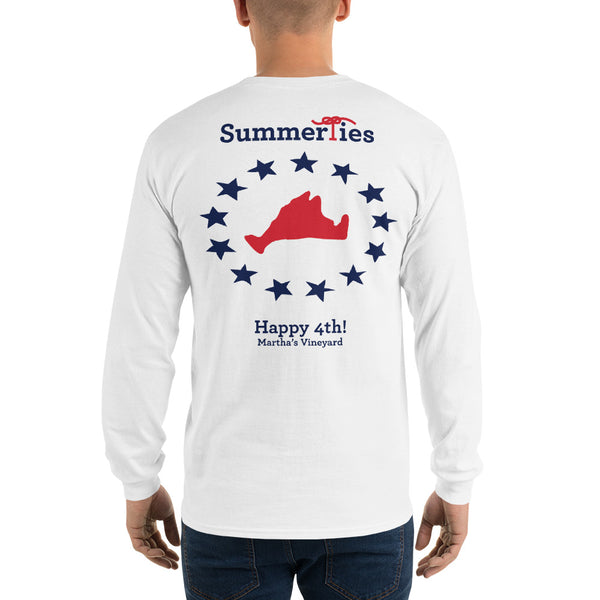 Martha's Vineyard 4th of July Long Sleeve T-Shirt - White - SummerTies