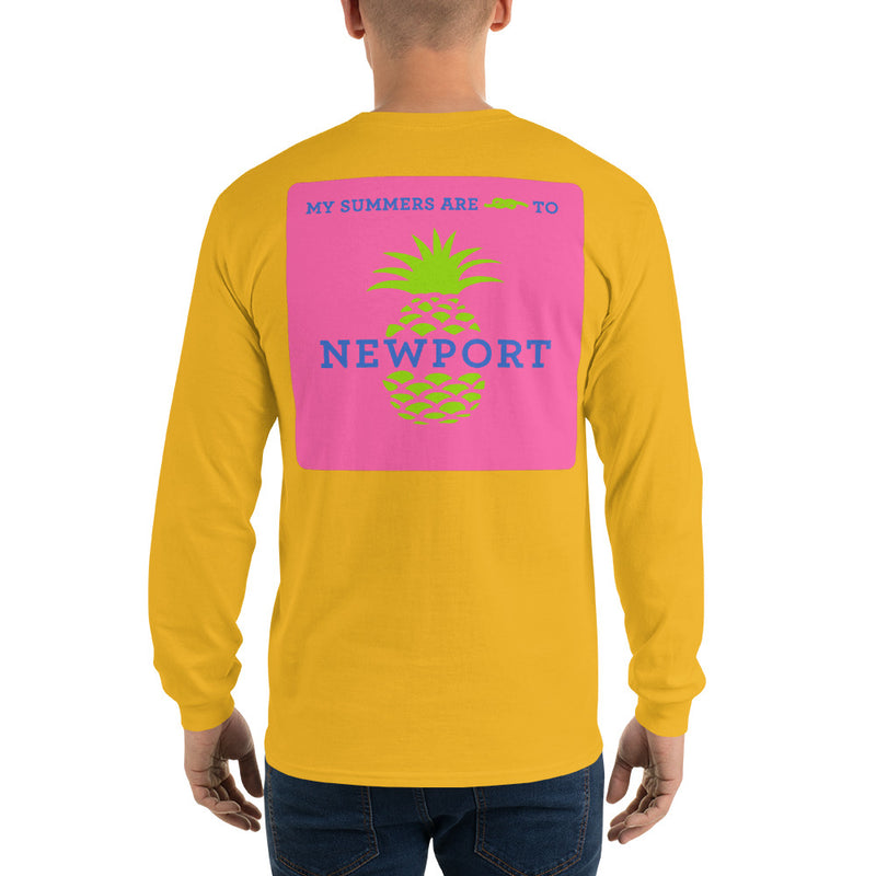 My Summers are Tied to Newport Pineapple Blue and Green with Pink Block Long Sleeve T-Shirt - Multiple Colors - SummerTies