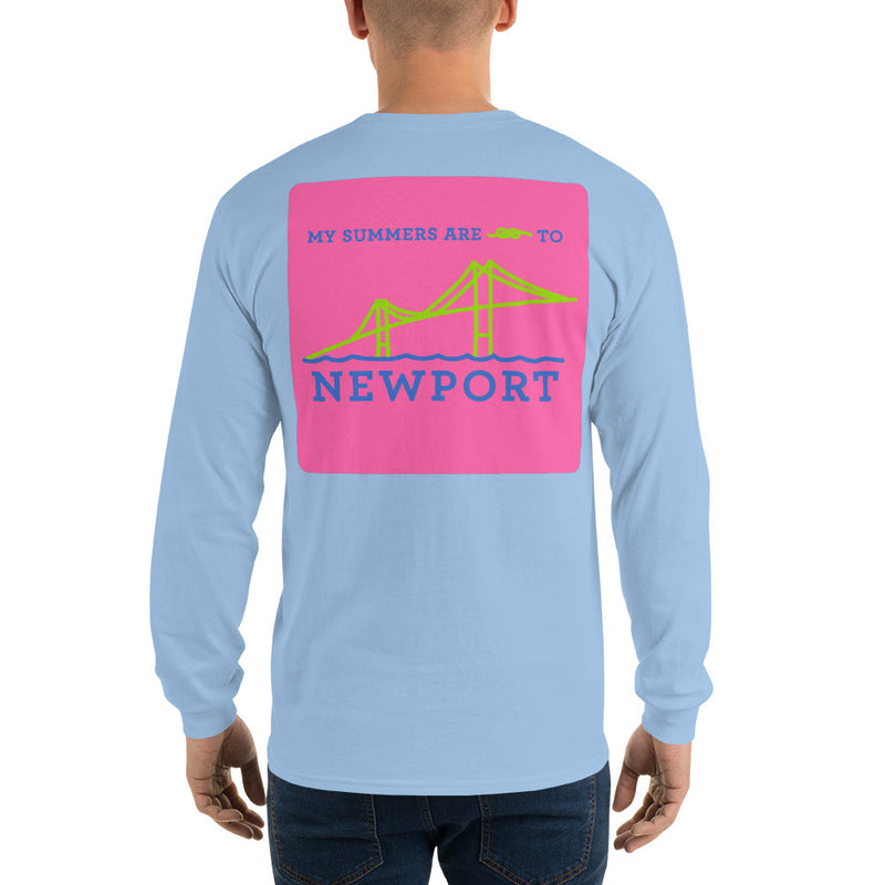 My Summers are Tied to Newport Bridge Blue and Green on Pink Block Long Sleeve T-Shirt - Multiple Colors - SummerTies