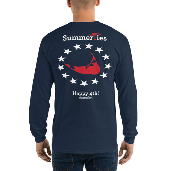 Nantucket 4th of July Long Sleeve T-Shirt - Navy - SummerTies