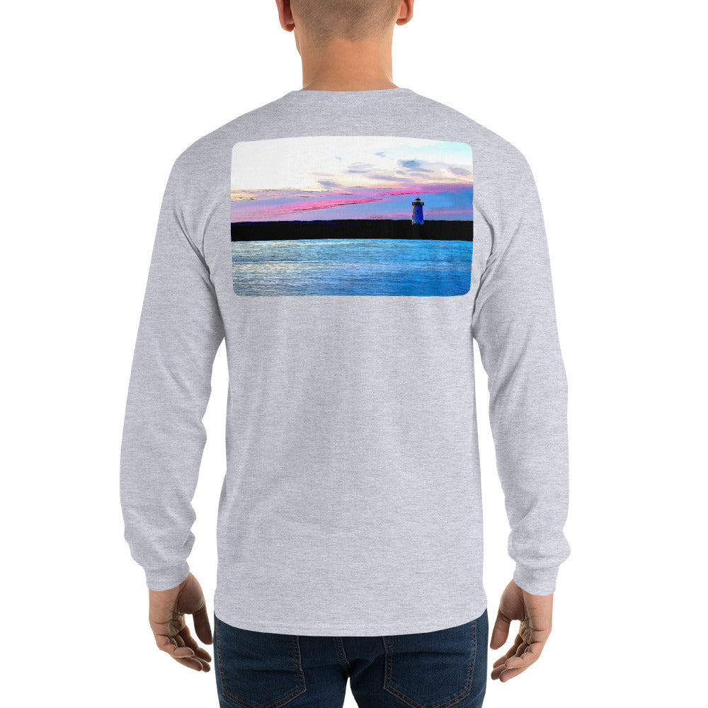 Edgartown Lighthouse Sunset Long Sleeve T-Shirt - Multiple Colors - SummerTies