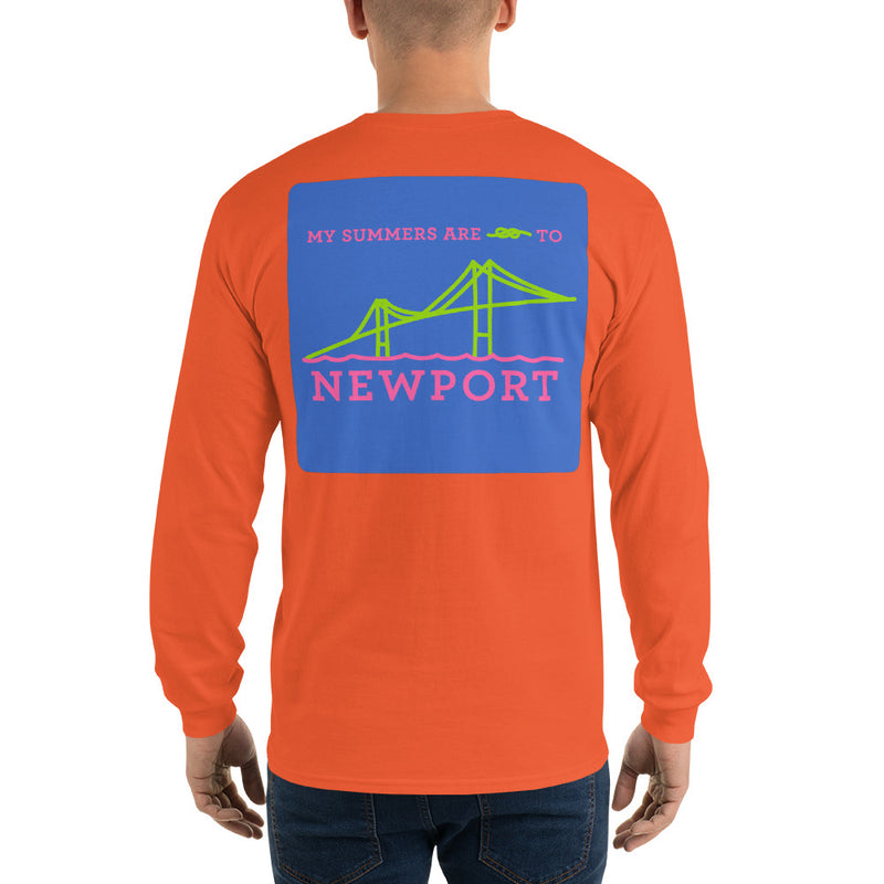 My Summers are Tied to Newport Bridge Pink and Green with Blue Block Long Sleeve T-Shirt - Multiple Colors - SummerTies