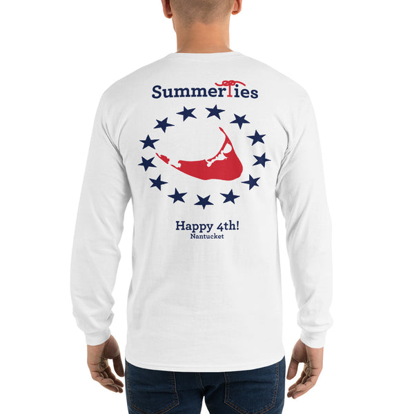Nantucket 4th of July Long Sleeve T-Shirt - White - SummerTies