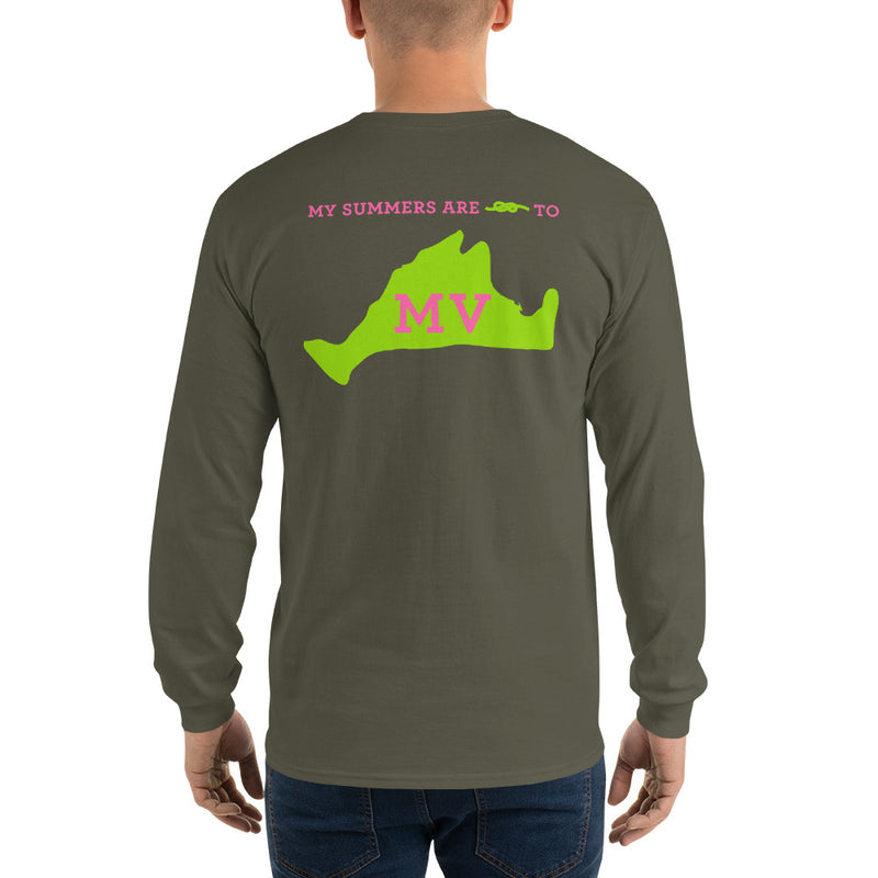 My Summers are Tied to Martha's Vineyard Pink and Green Long Sleeve T-Shirt - Multiple Colors - SummerTies