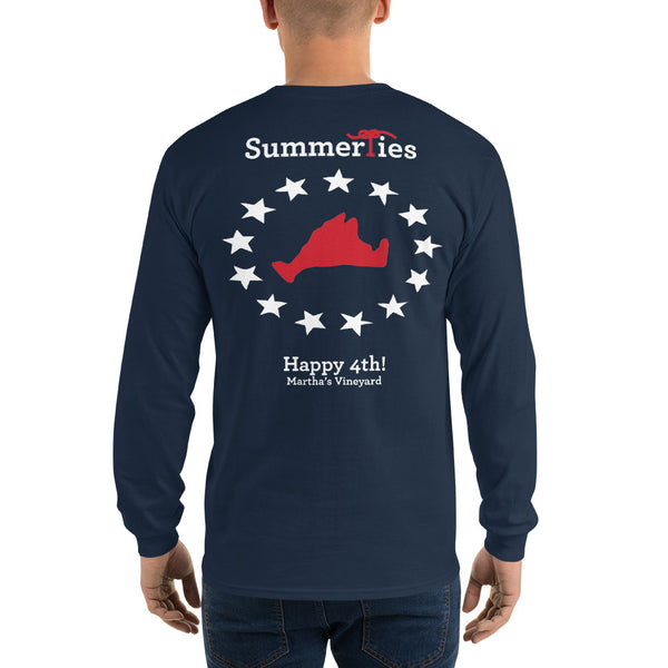 Martha's Vineyard 4th of July Long Sleeve T-Shirt - Navy - SummerTies