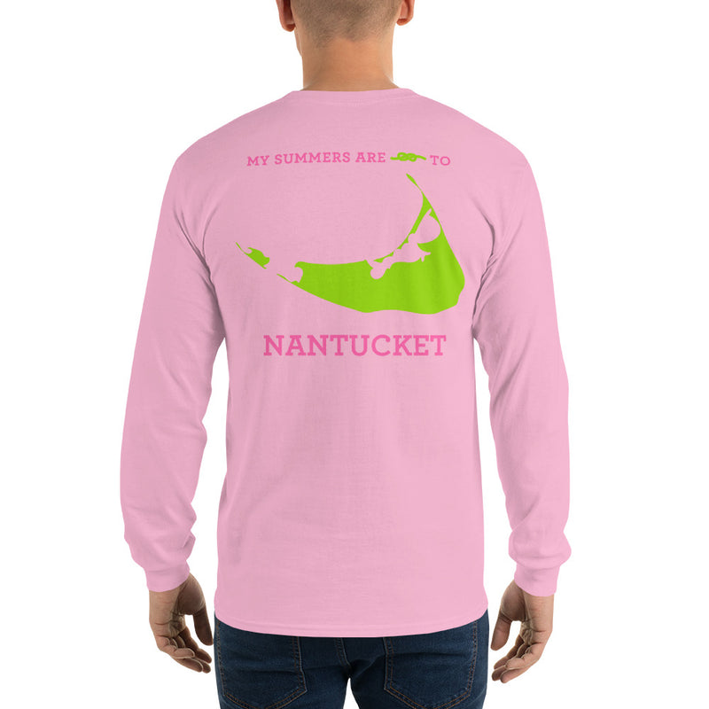 My Summers are Tied to Nantucket Pink and Green Long Sleeve T-Shirt - Multiple Colors - SummerTies