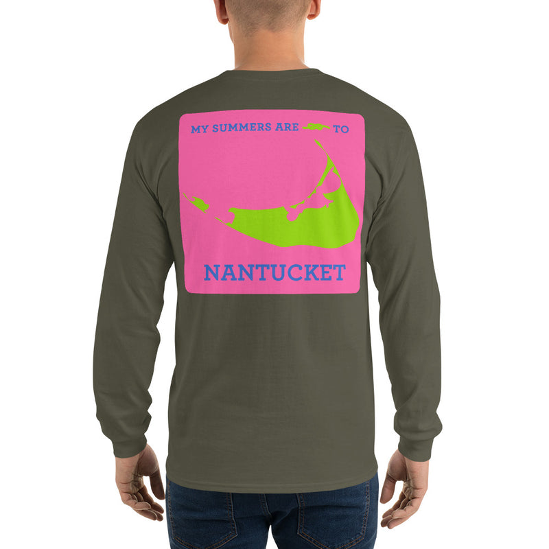 My Summers are Tied to Nantucket Blue and Green with Pink Block Long Sleeve T-Shirt - Multiple Colors - SummerTies