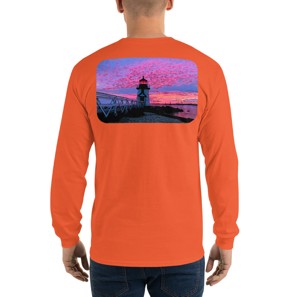 Brant Point Lighthouse Nantucket Sunset Long Sleeve T-Shirt - Multiple Colors - SummerTies