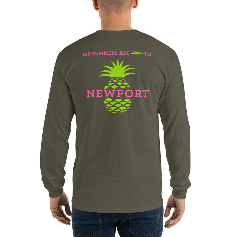 My Summers are Tied to Newport Pineapple Pink and Green Long Sleeve T-Shirt - Multiple Colors - SummerTies