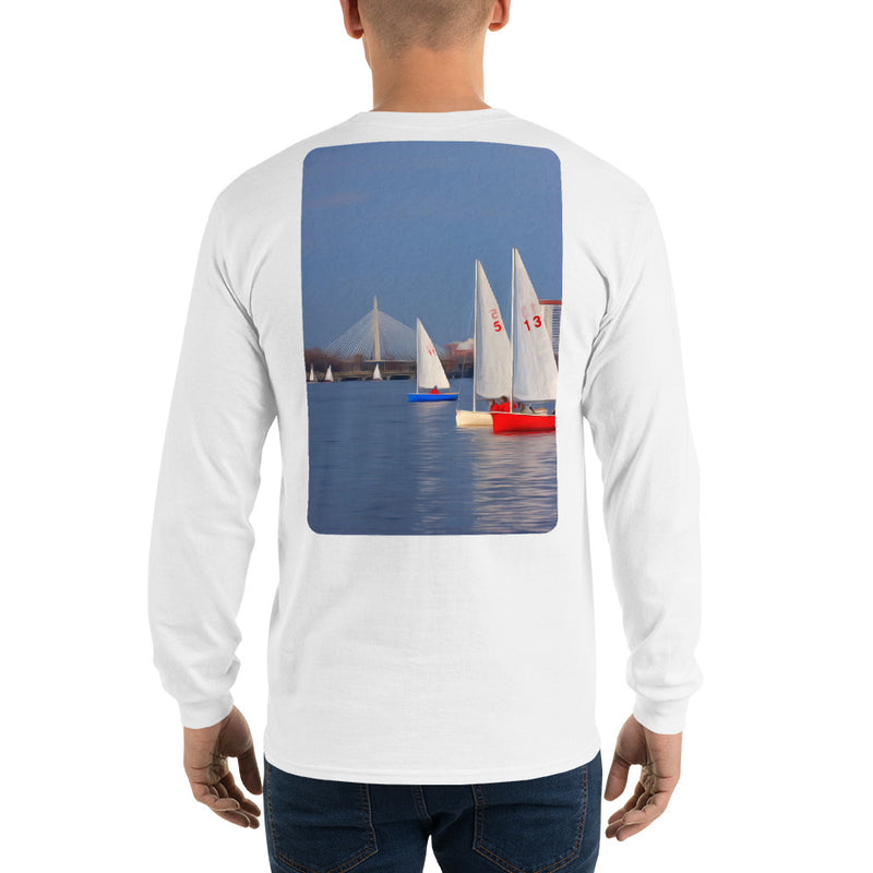 Interclub Sailboats on Charles River Boston Long Sleeve T-Shirt - Multiple Colors - SummerTies