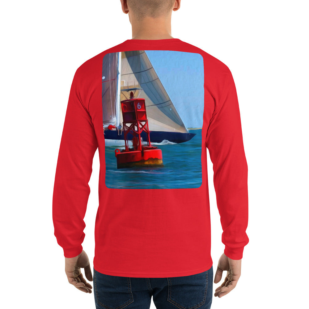 12 Metre Sailboat at Buoy Long Sleeve T-Shirt - Multiple Colors - SummerTies