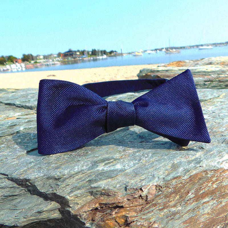 Solid Color Bow Tie - Navy, Woven Silk, Adult - SummerTies