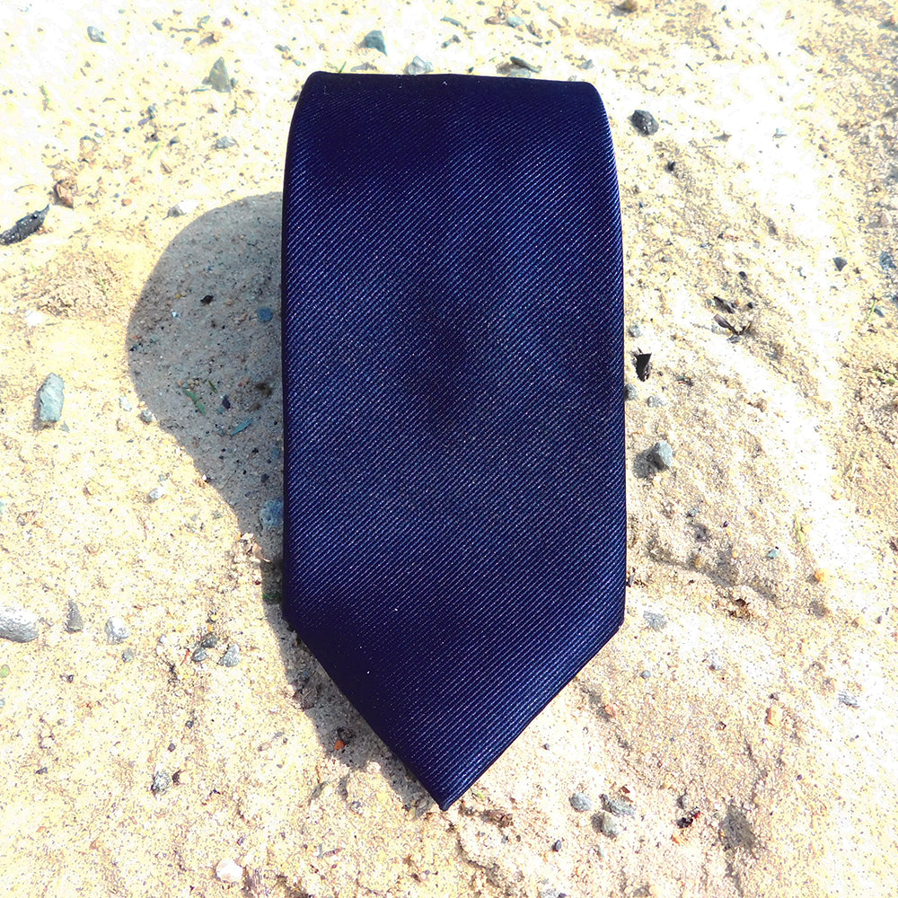 Solid Color Necktie - Navy, Woven Silk - SummerTies