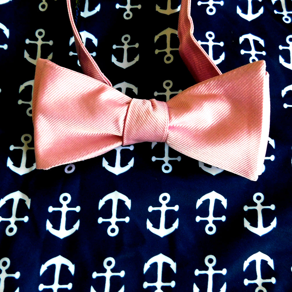 Solid Color Bow Tie - Pink, Woven Silk, Adult - SummerTies