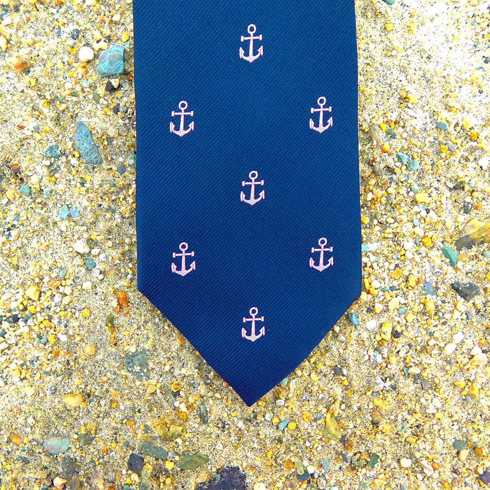 Anchor Necktie - Pink on Navy, Woven Silk - SummerTies