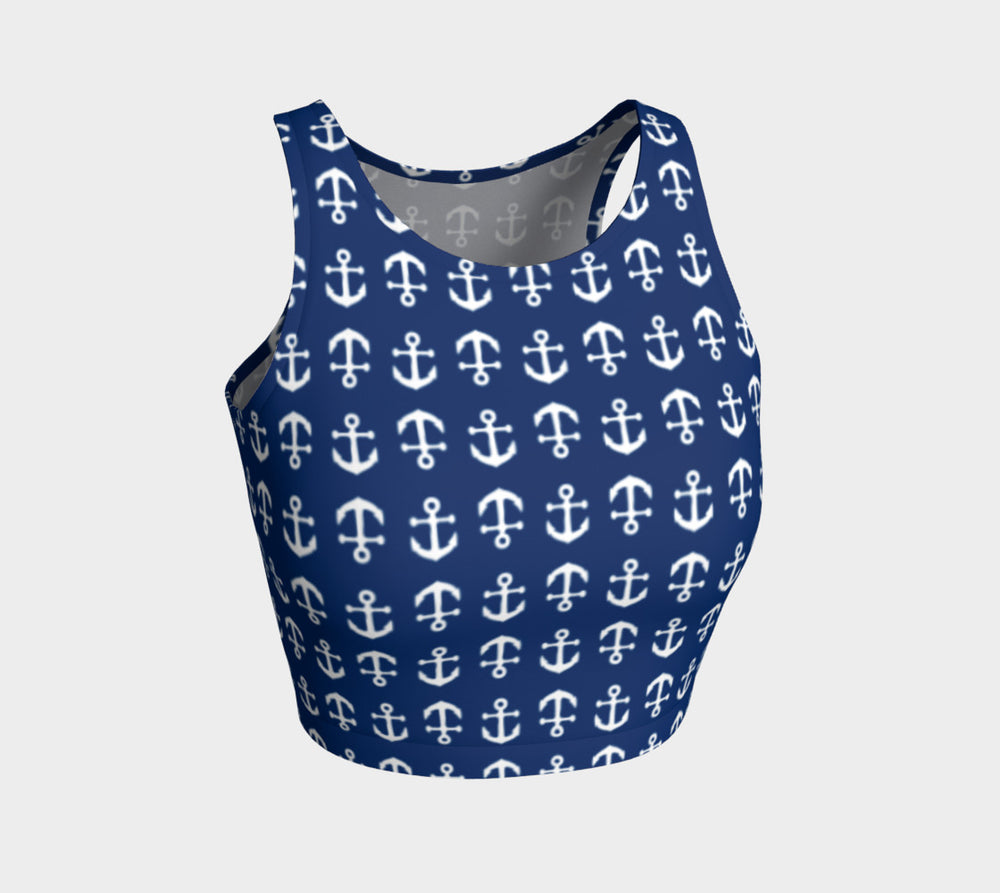 Anchor Toss Athletic Crop Top - White on Navy - SummerTies
