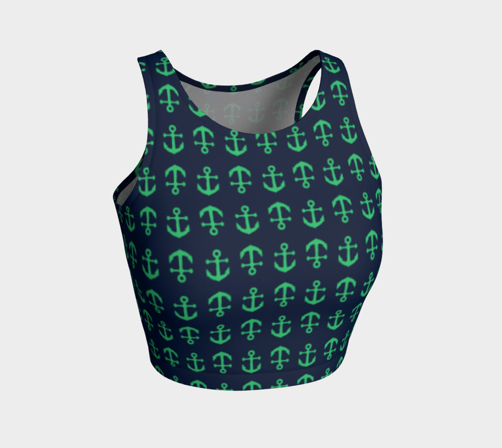 Anchor Toss Athletic Crop Top - Green on Navy - SummerTies