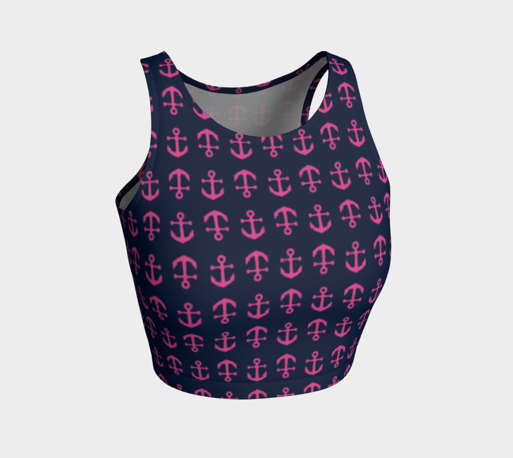 Anchor Toss Athletic Crop Top - Pink on Navy - SummerTies