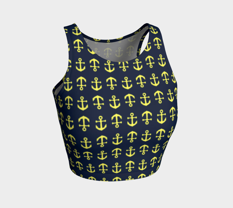 Anchor Toss Athletic Crop Top - Yellow on Navy - SummerTies