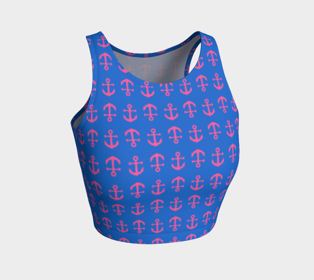Anchor Toss Athletic Crop Top - Pink on Blue - SummerTies