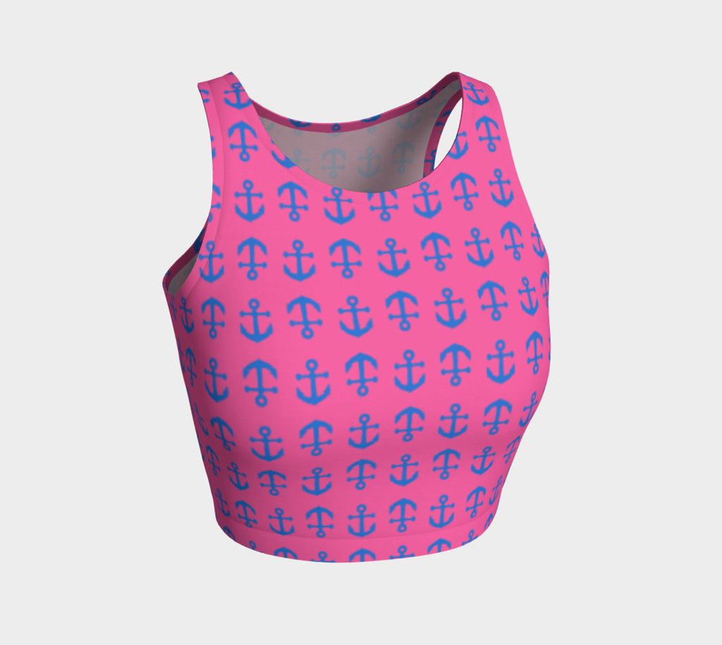 Anchor Toss Athletic Crop Top - Blue on Pink - SummerTies
