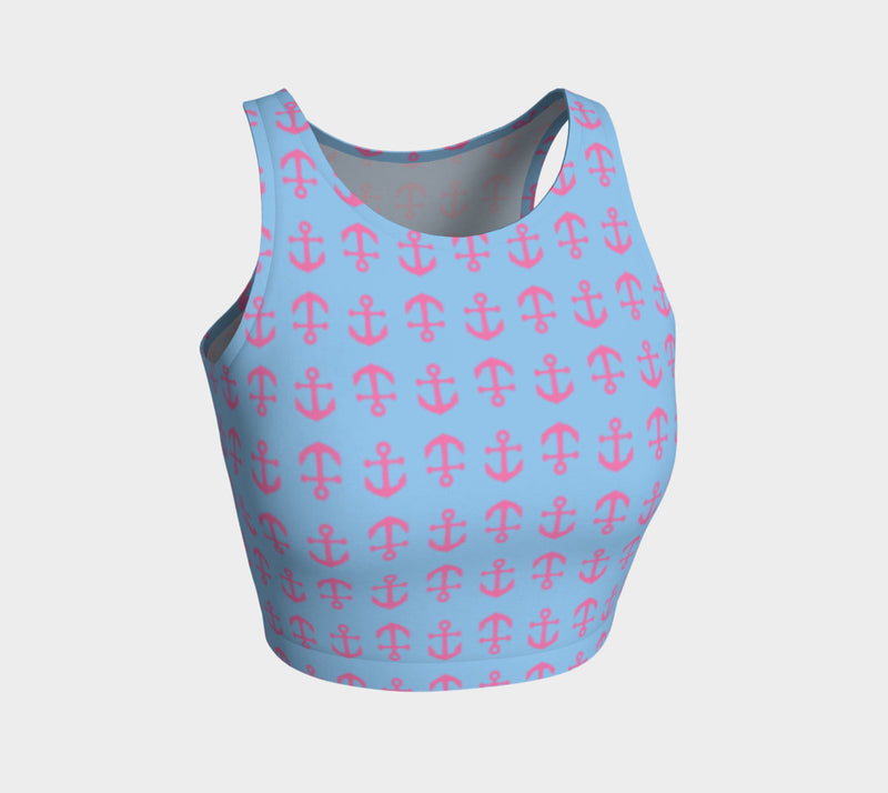 Anchor Toss Athletic Crop Top - Pink on Light Blue - SummerTies