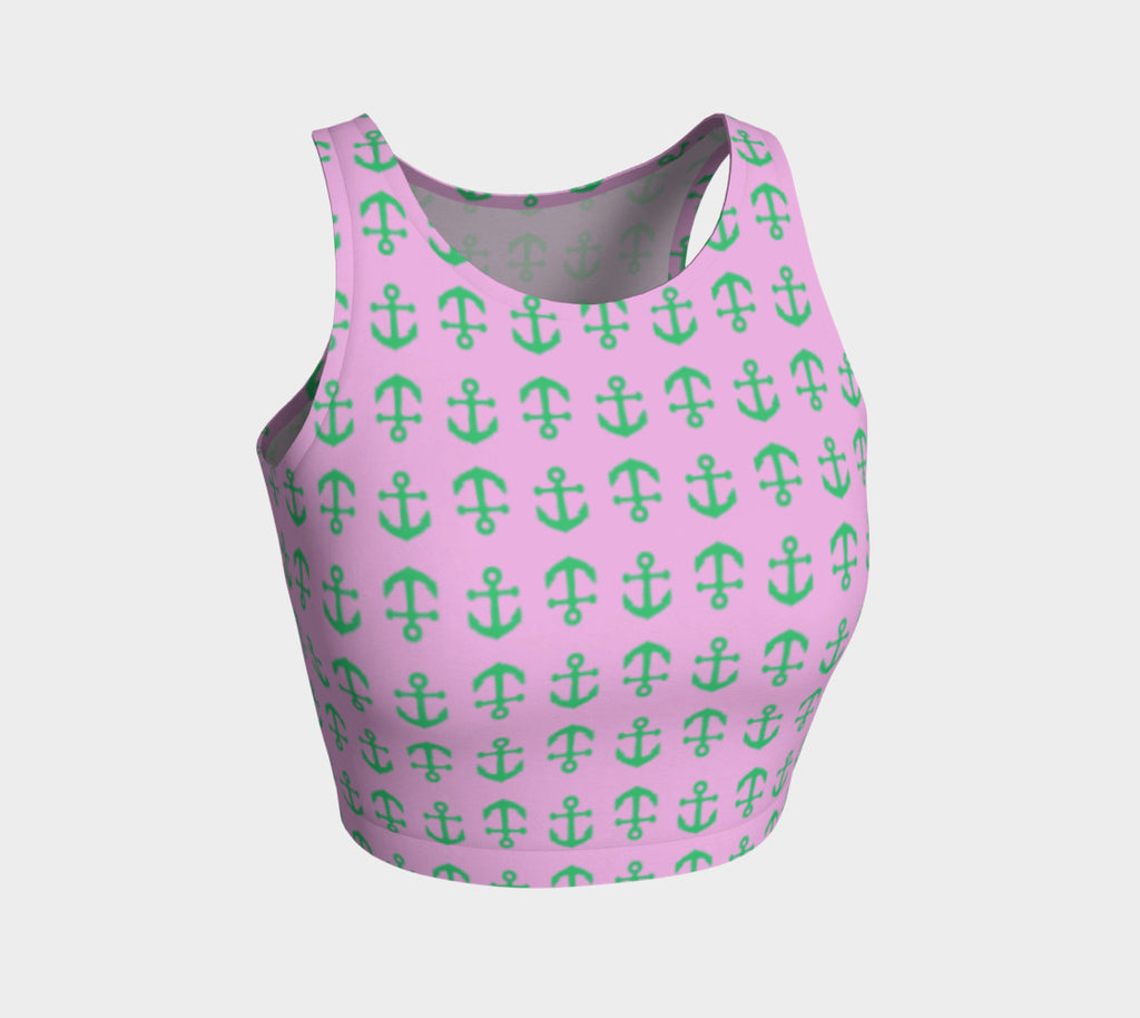 Anchor Toss Athletic Crop Top - Green on Pink - SummerTies