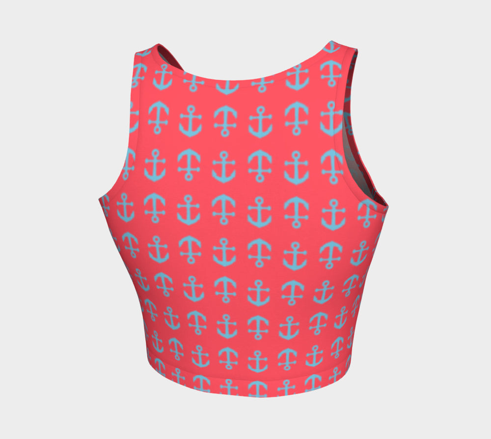Anchor Toss Athletic Crop Top - Light Blue on Darker Coral - SummerTies
