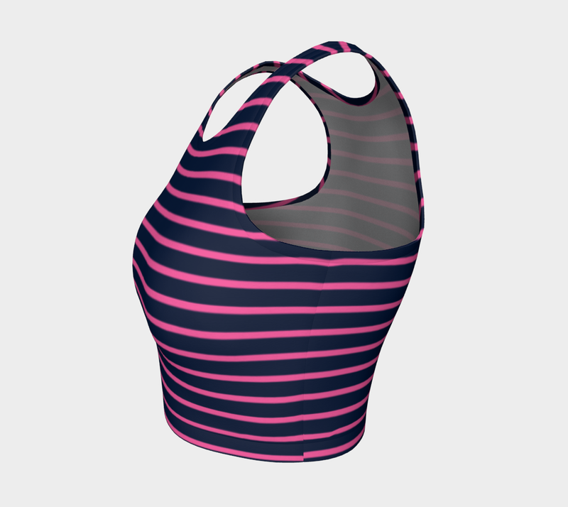 Striped Athletic Crop Top - Pink on Navy