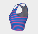Striped Athletic Crop Top - Pink on Blue - SummerTies