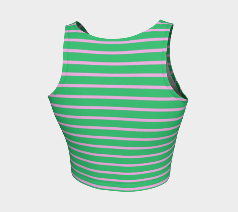 Striped Athletic Crop Top - Light Pink on Green - SummerTies