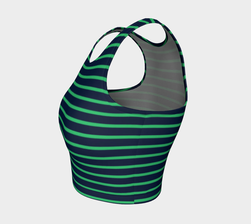 Striped Athletic Crop Top - Green on Navy - SummerTies