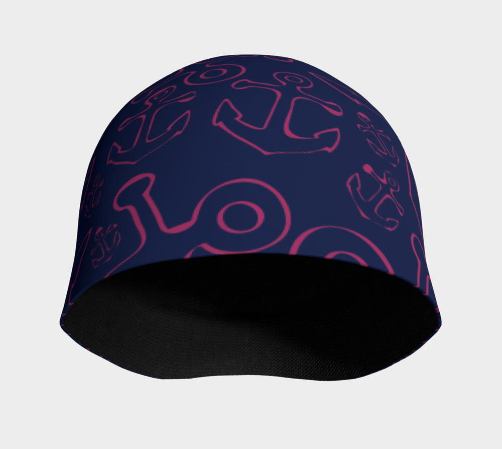 Anchor Dream Pink on Navy Winter Beanie - SummerTies