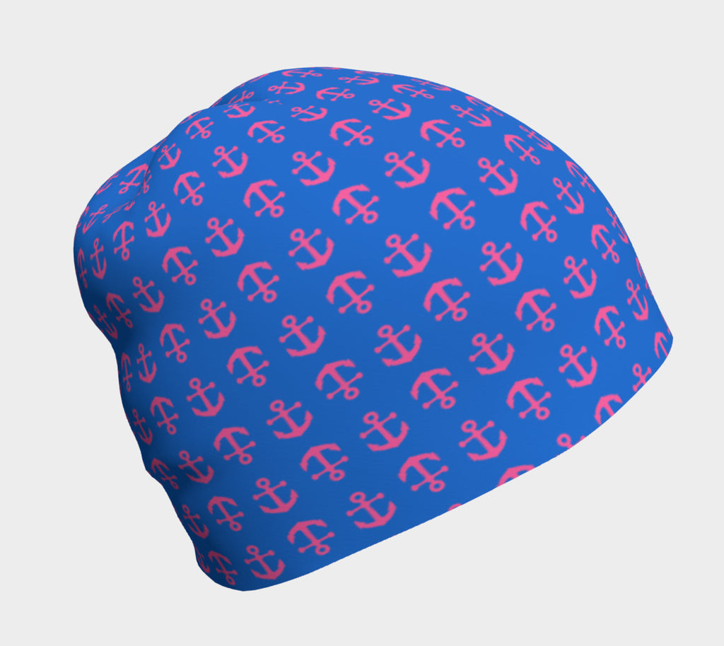 Anchor Toss Winter Beanie - Pink on Blue - SummerTies