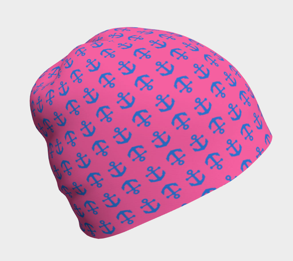 Anchor Toss Winter Beanie - Blue on Pink - SummerTies