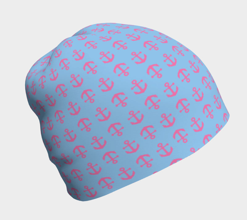 Anchor Toss Winter Beanie - Pink on Light Blue - SummerTies