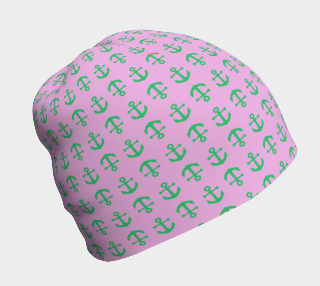 Anchor Toss Winter Beanie - Green on Light Pink - SummerTies