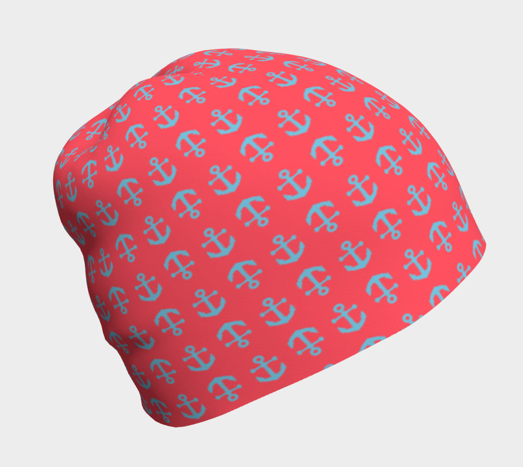 Anchor Toss Winter Beanie - Light Blue on Darker Coral - SummerTies