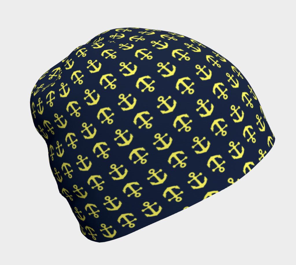 Anchor Toss Winter Beanie - Yellow on Navy - SummerTies