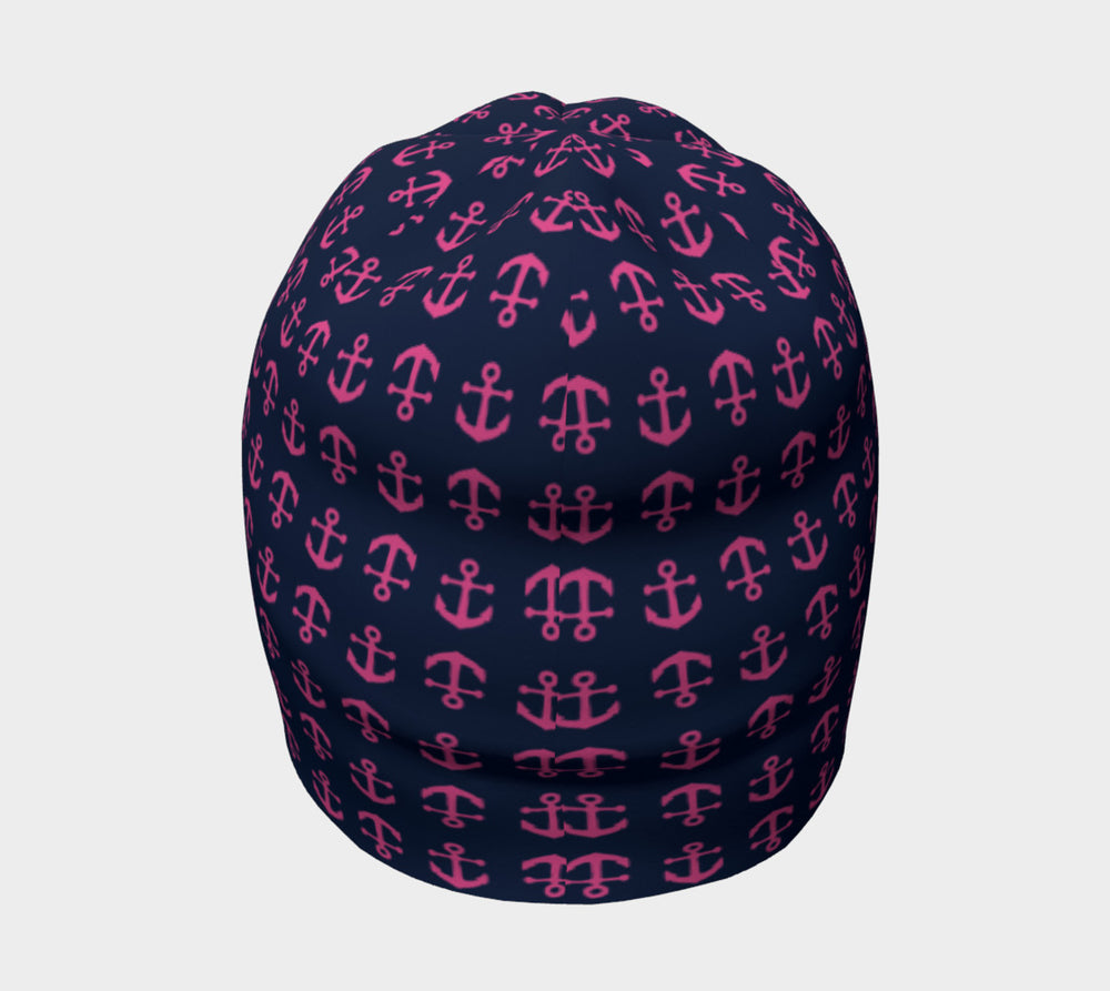 Anchor Toss Winter Beanie - Pink on Navy - SummerTies