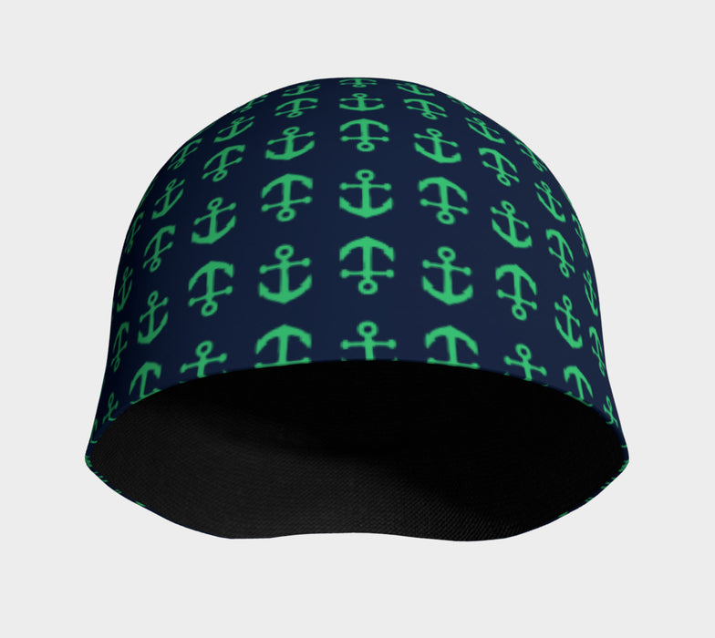 Anchor Toss Winter Beanie - Green on Navy - SummerTies