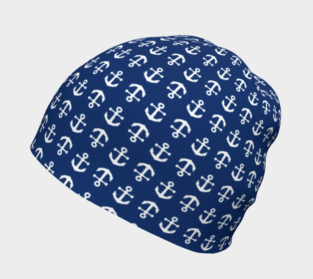 Anchor Toss Winter Beanie - White on Navy - SummerTies
