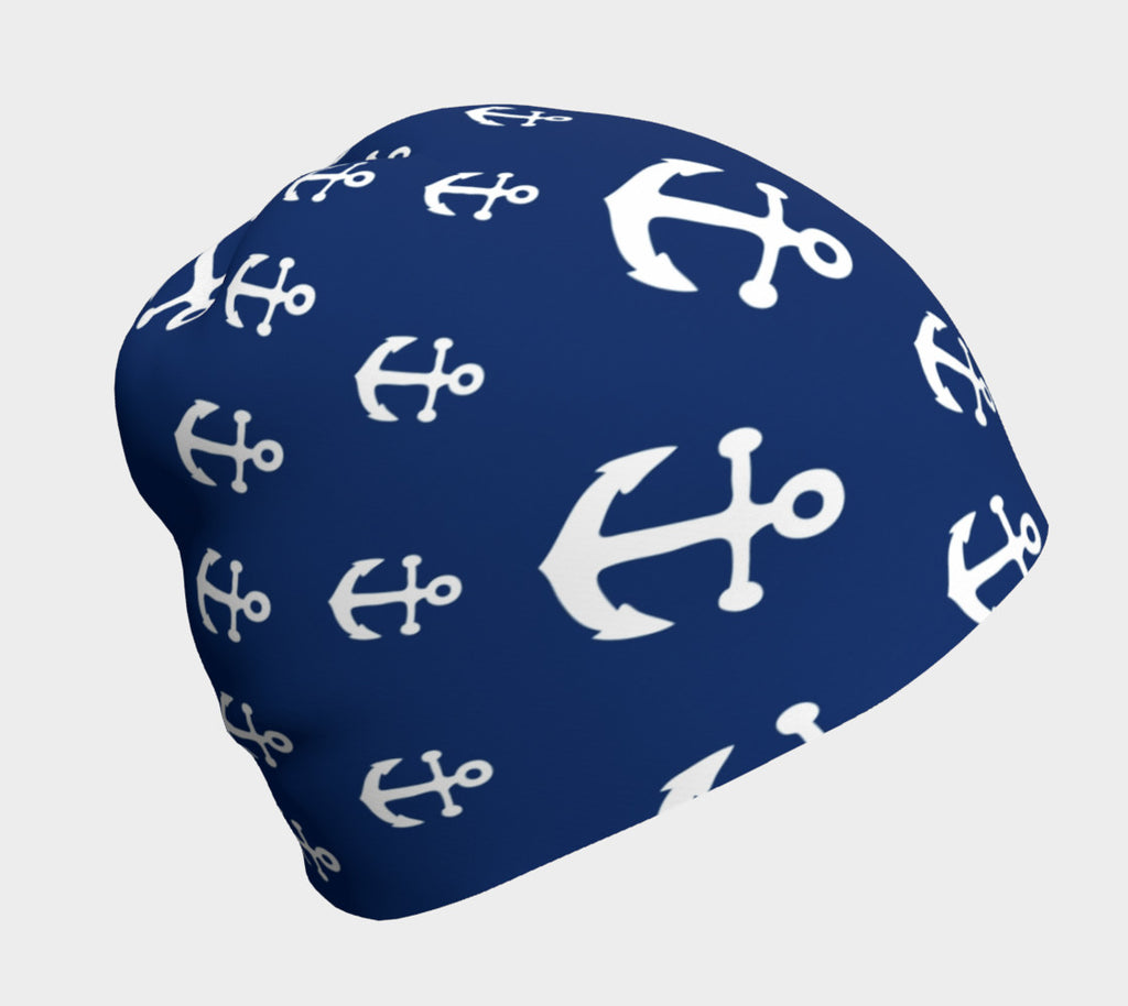 Anchor Pinwheel White on Navy Winter Beanie - SummerTies