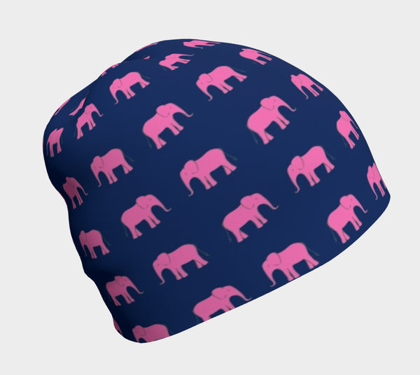 Elephant Pink on Navy Winter Beanie - SummerTies