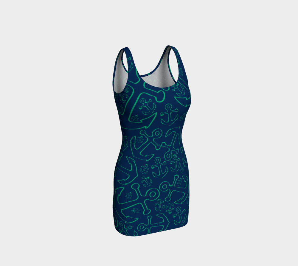 Anchor Dream Bodycon Dress - Green on Navy - SummerTies