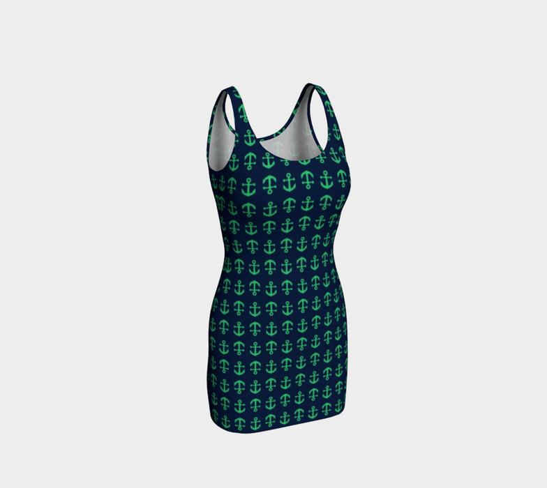 Anchor Toss Bodycon Dress - Green on Navy - SummerTies